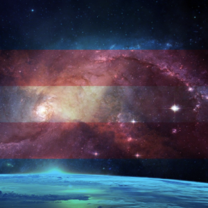 transgender pride flag and earth from outer space