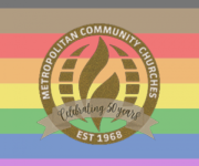 gbt pride flag and MCC 50th anniversary logo