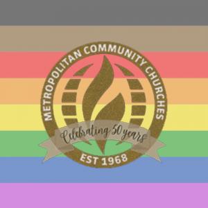 lgbt pride flag and MCC 50th anniversary logo