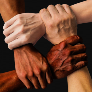 different hands from various races locked together