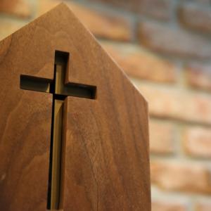 wooden cross pew