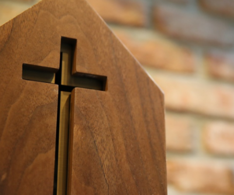 wooden cross pew