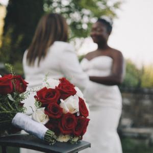 lesbian couple at their wedding
