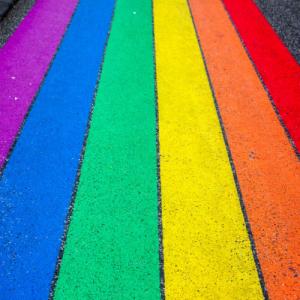 rainbow chalk on a street